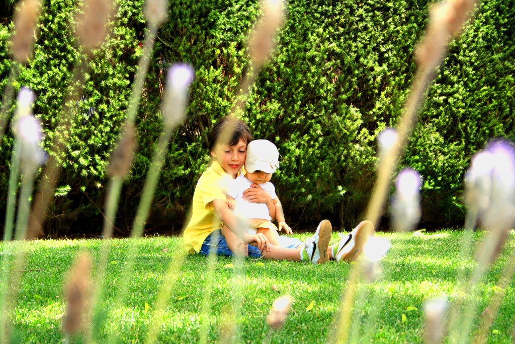 Sweet older brother hugging his young sister on the grass